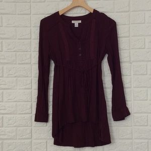 Motherhood Maternity burgundy Henley tunic blouse